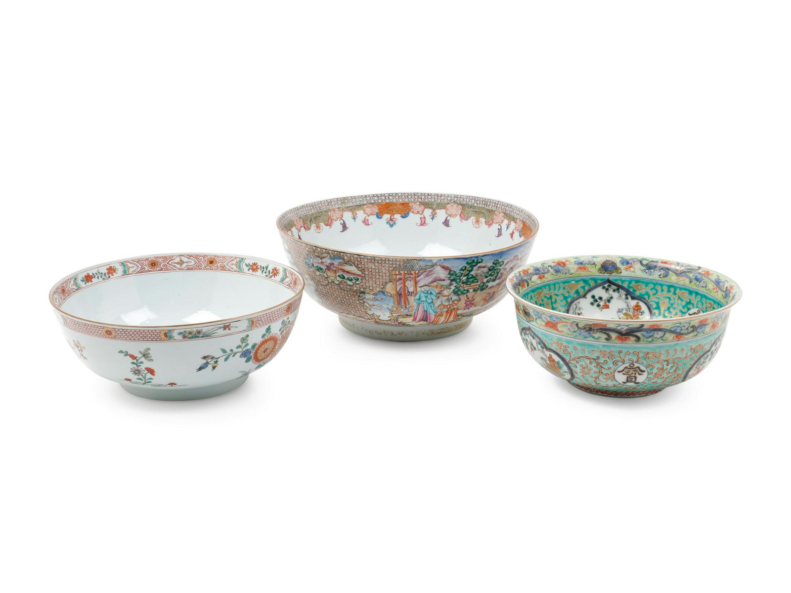 A Large Chinese Export Rose Medallion Porcelain Bowl