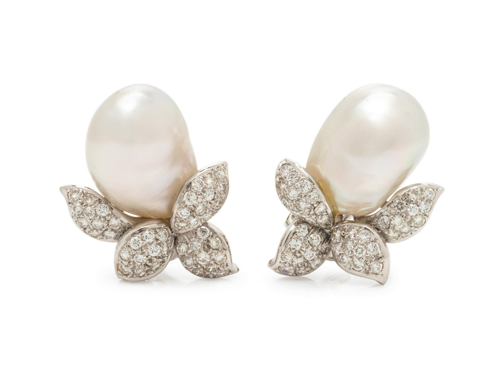 ADLER, CULTURED BAROQUE PEARL AND DIAMOND EARCLIPS