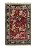 A Kirman Pictorial Wool Rug 7 feet x 4 feet 6 inches.
