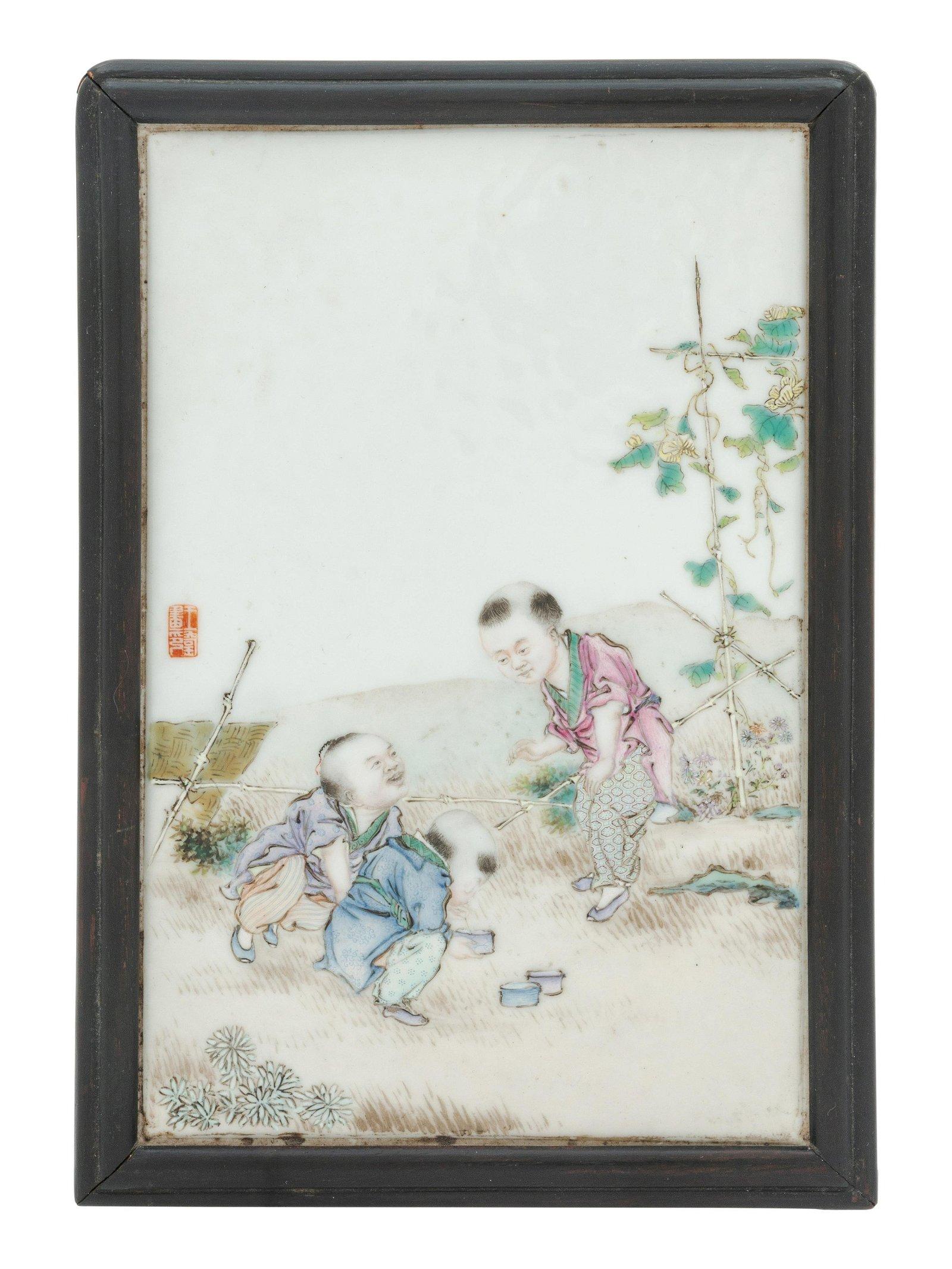 A Famille Rose Porcelain 'Boys' Plaque Height 7 x width