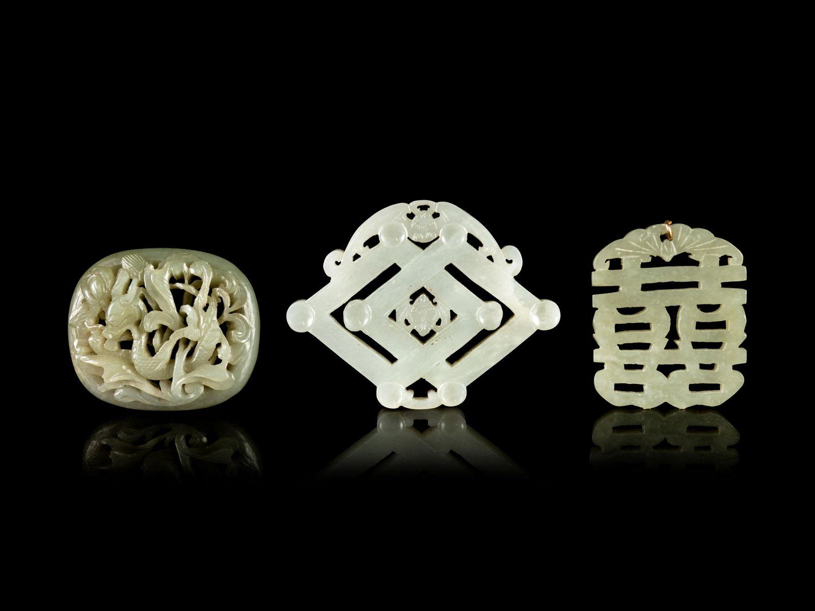 Three Carved Jade Pendants