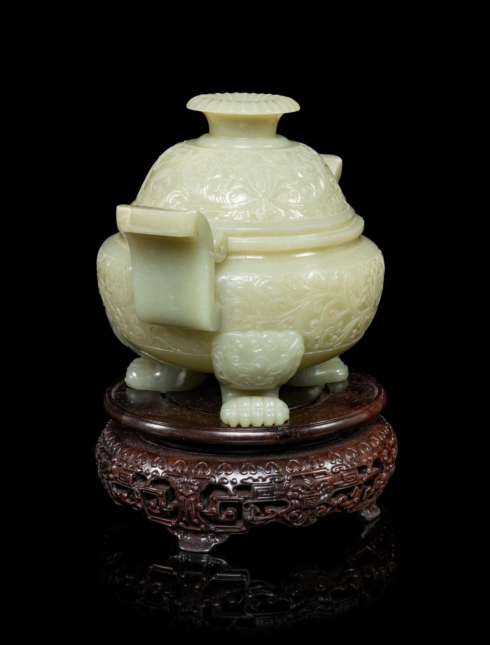 A Celadon Jade Incense Burner Height 5 1/4 in., 13 cm.