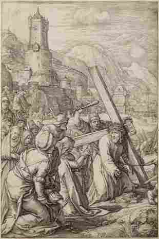 Hendrik Goltzius (Dutch, 1558-1617) Christ Bearing the