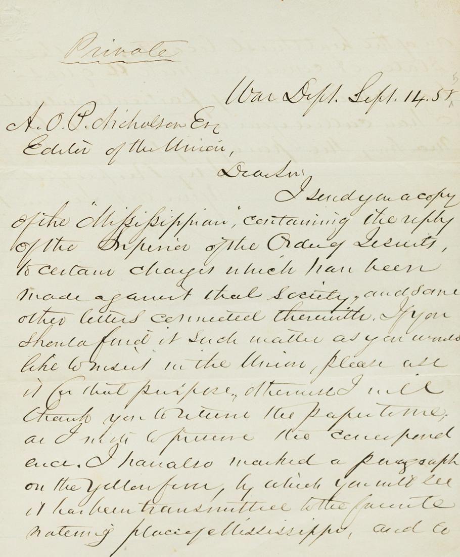 DAVIS, Jefferson (1808-1889). Autographed letter signed