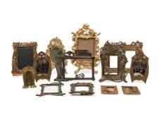 Thirteen Art Nouveau Cast Metal Picture Frames