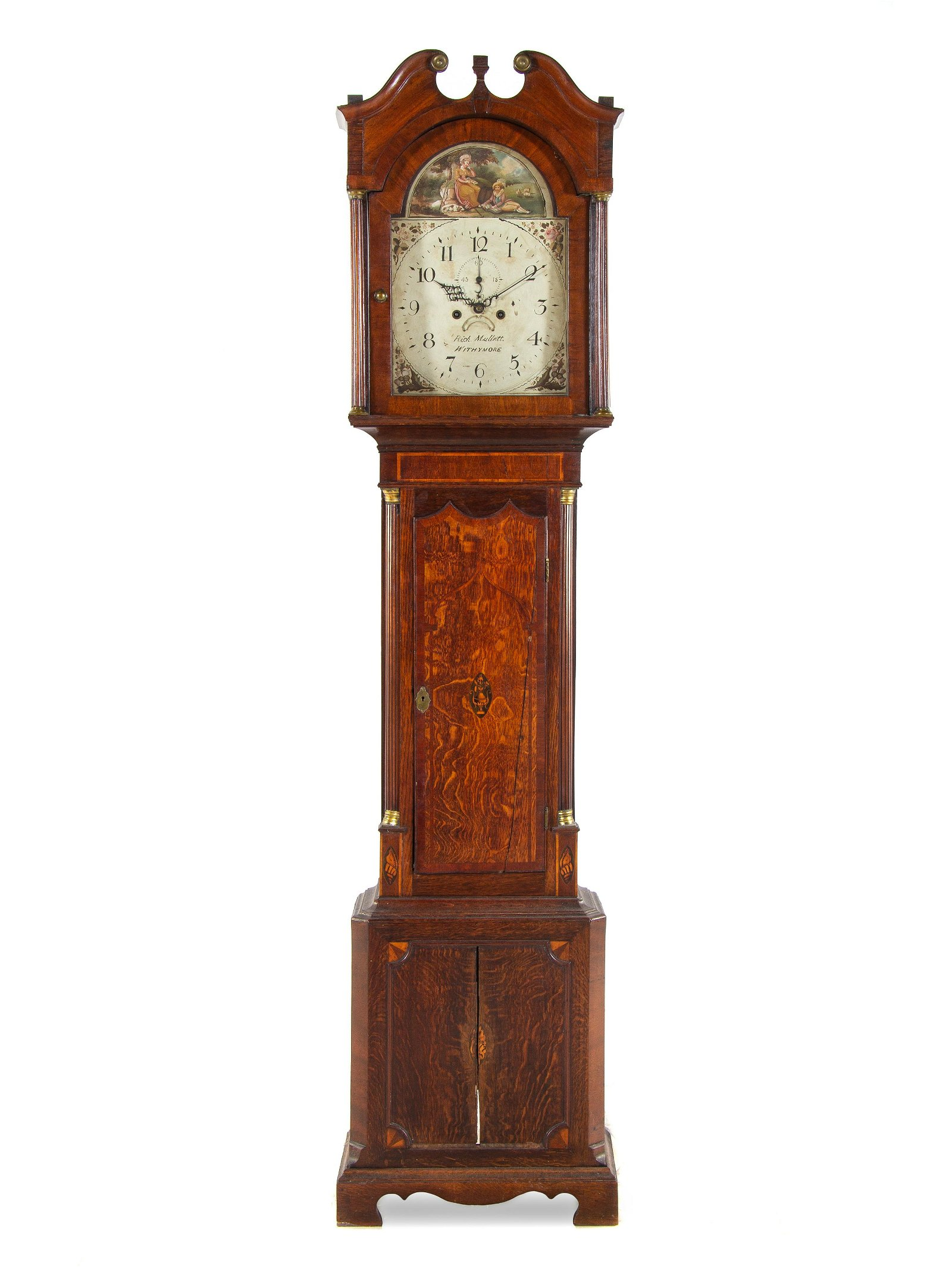 A George III Oak and Mahogany Tall Case Clock