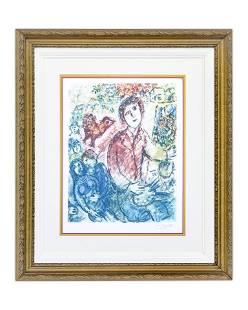 After Marc Chagall Le Peintre en Rouge lithograph