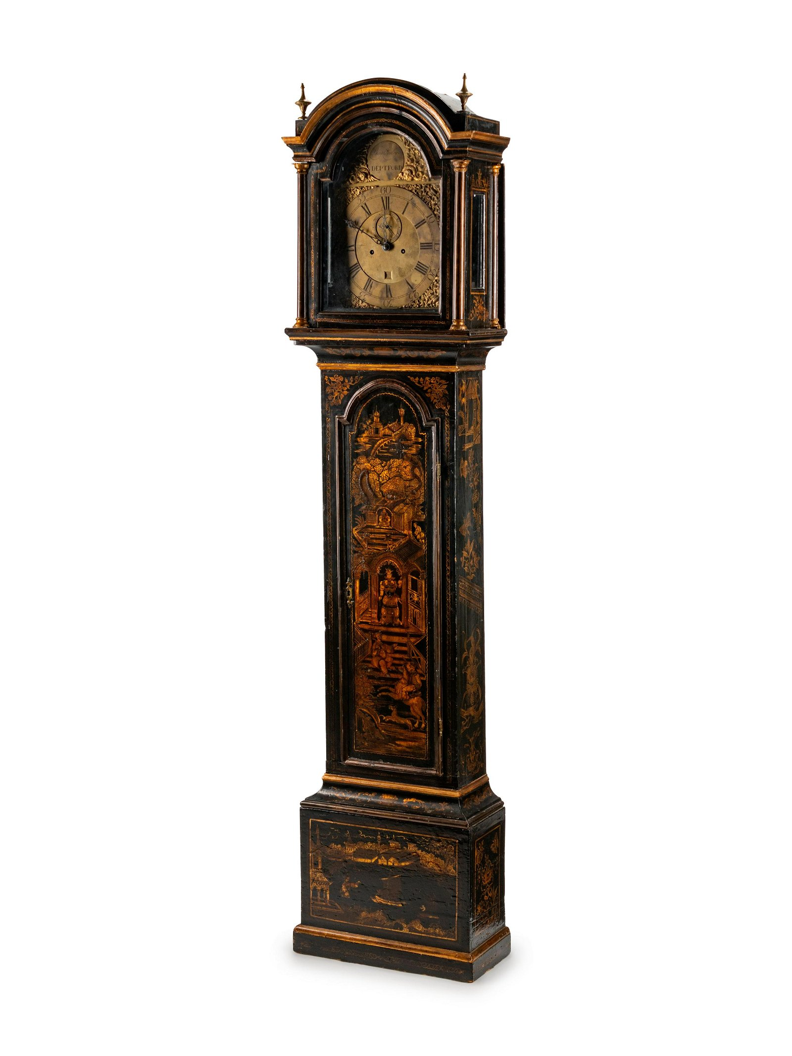 A George III Black-Japanned Longcase Clock Height 85 x