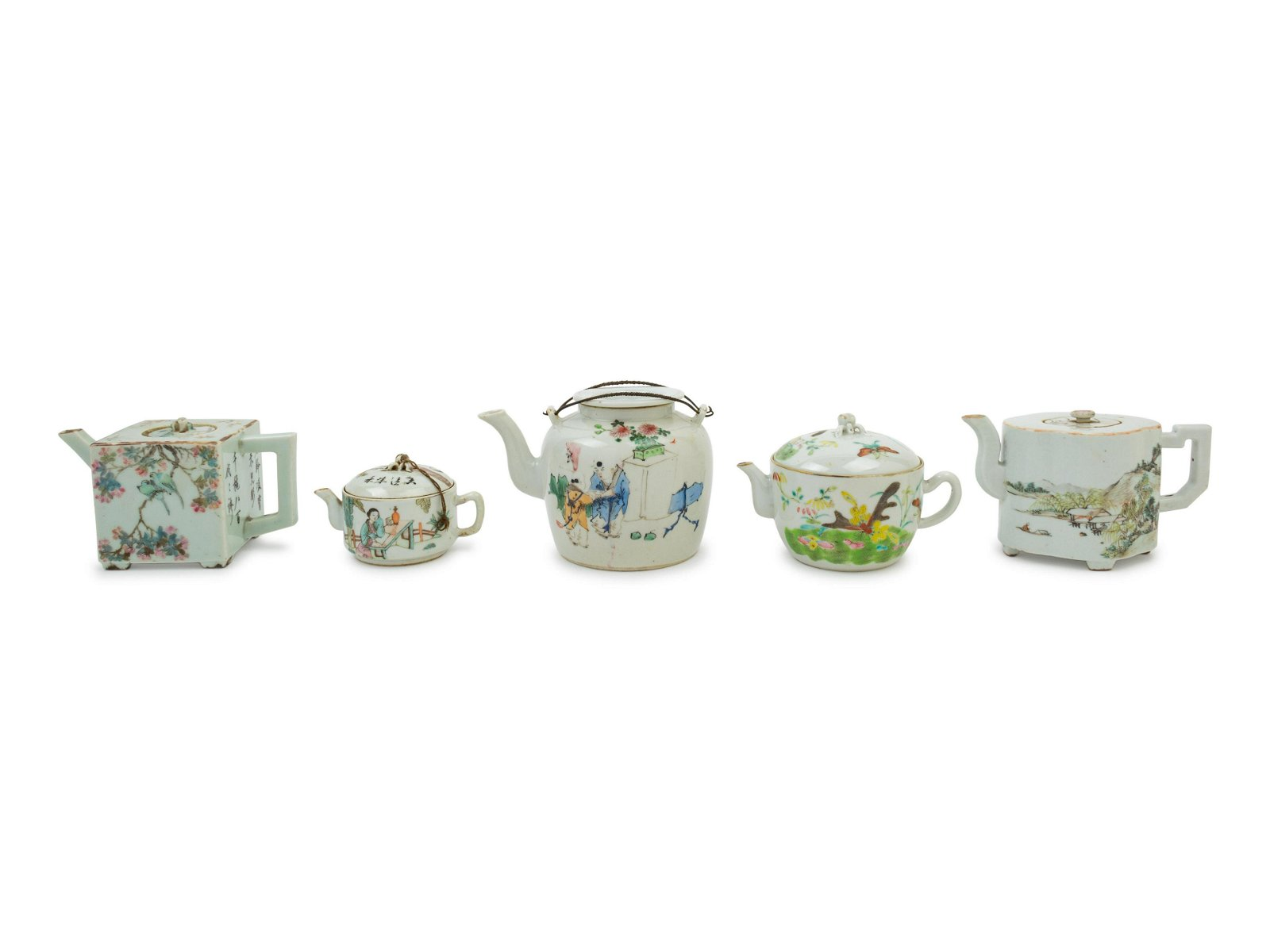 Five Chinese Famille Rose Porcelain Teapots Height of