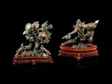 Two Chinese Spinach Jade Figural Groups of Birds Height