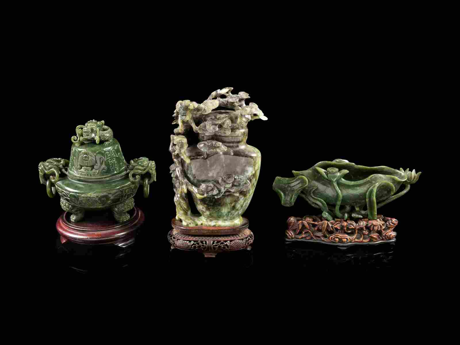 Three Chinese Carved Green Jade and Jadeite Articles