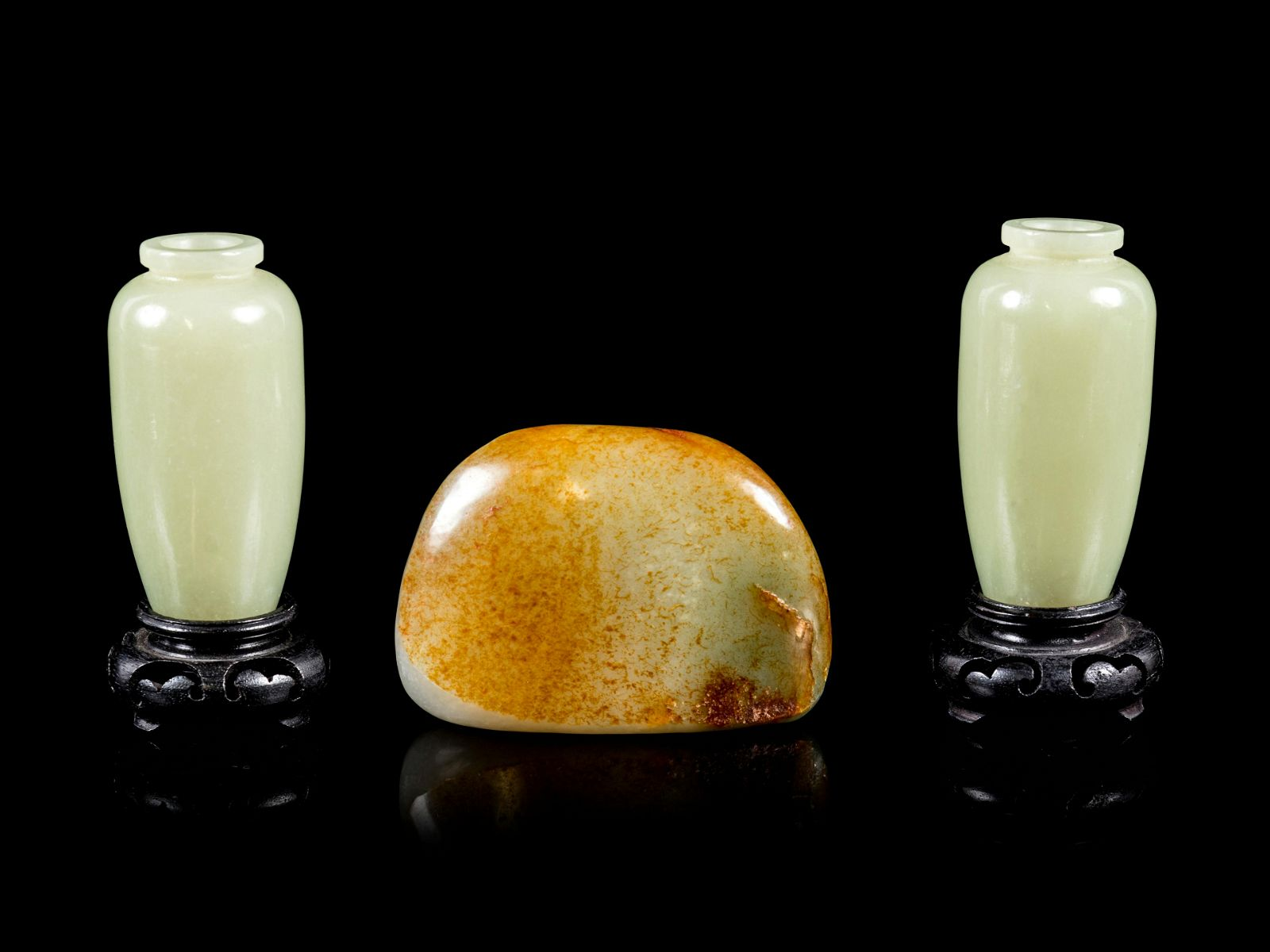 Three Chinese Jade and Hardstone Articles Length of