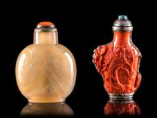 Two Chinese Snuff Bottles Height of larger 2 34 in 7