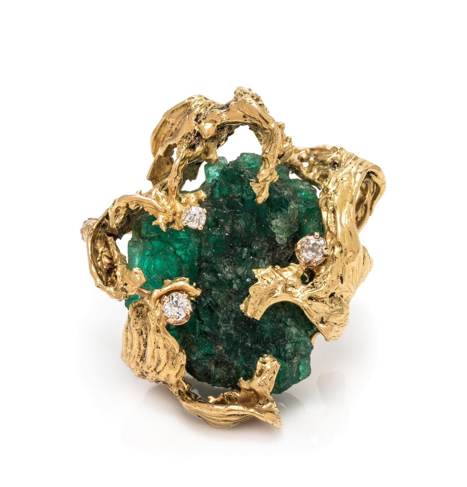BRUTALIST, YELLOW GOLD, EMERALD CRYSTAL AND DIAMOND