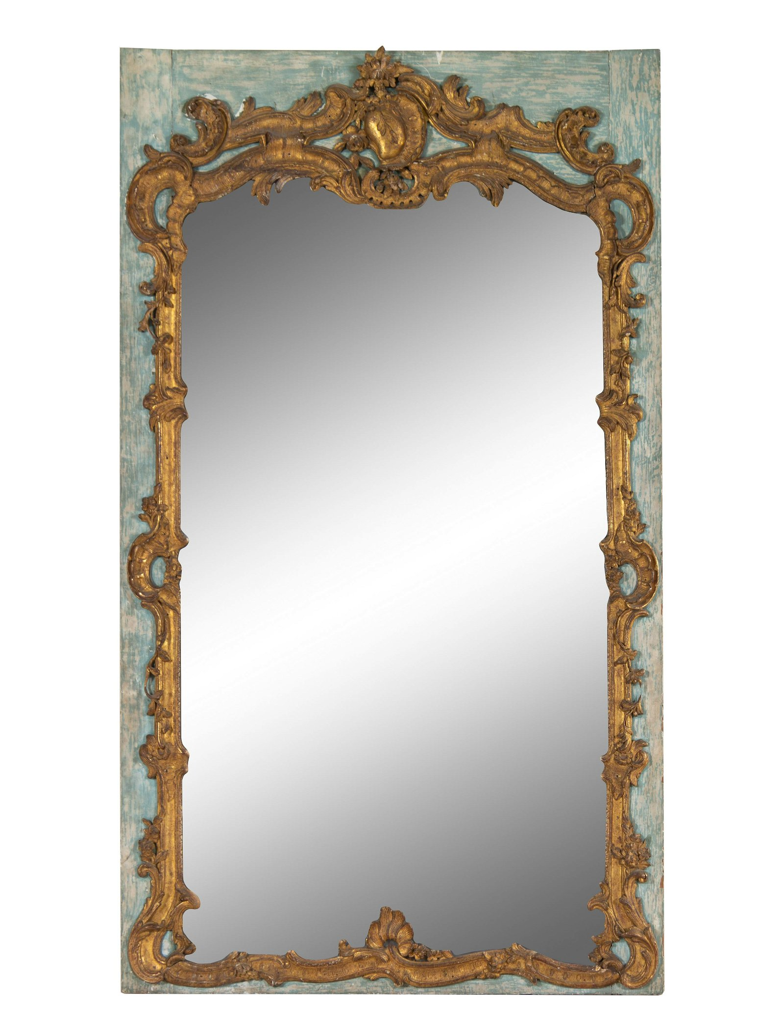 A Louis XV Painted and Parcel Gilt Trumeau Mirror