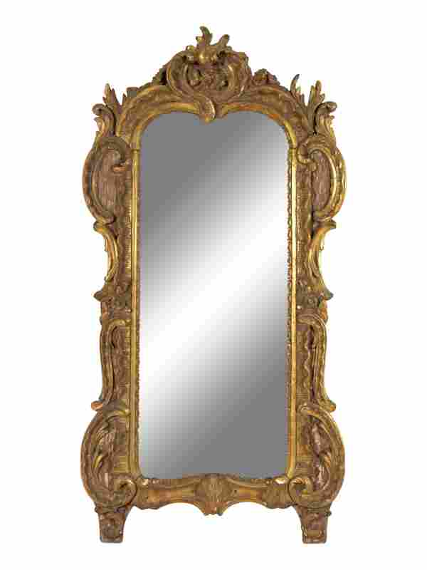 A Louis XV Carved Giltwood Mirror