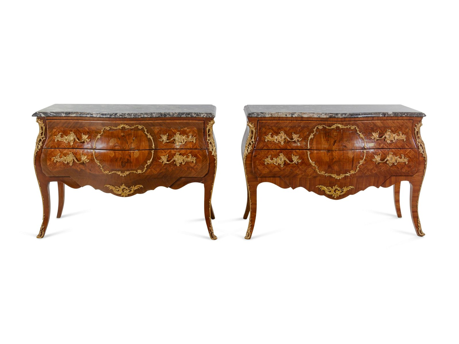 A Pair of Louis XV Style Gilt Bronze Mounted Sans