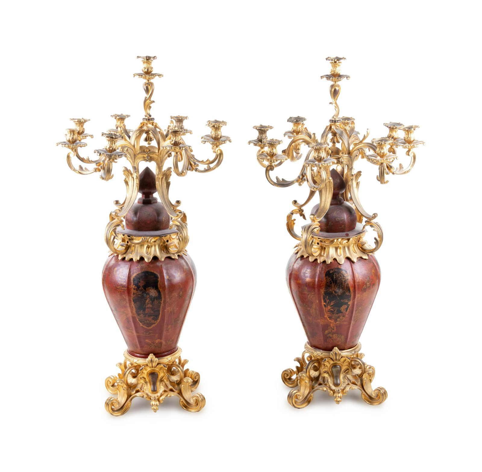 A Pair of Louis XV Style Gilt Bronze Mounted Tole