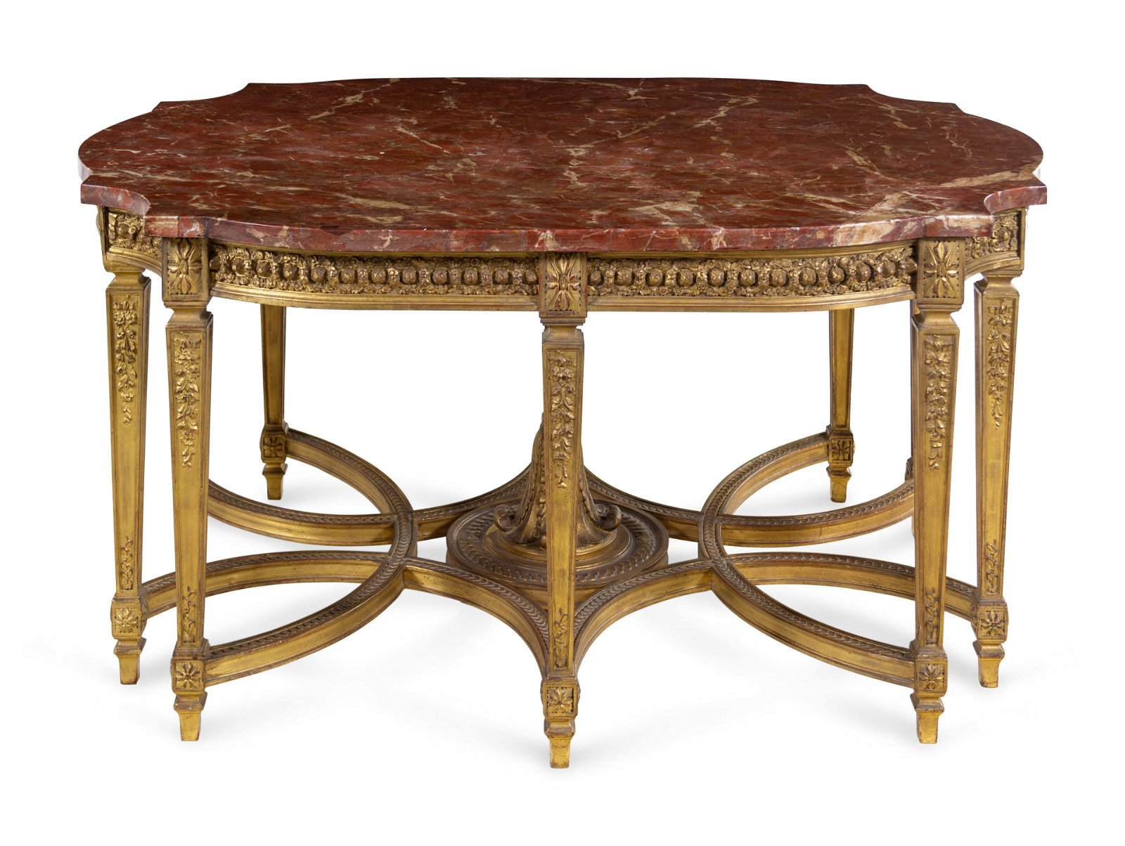 A Louis XVI Style Carved Giltwood Center Table