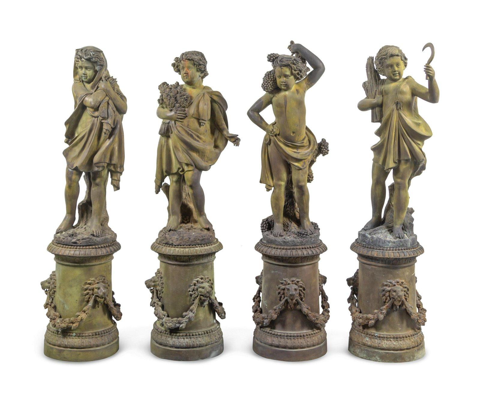 A Set of Four Cast Metal Garden Figures Allegorical of
