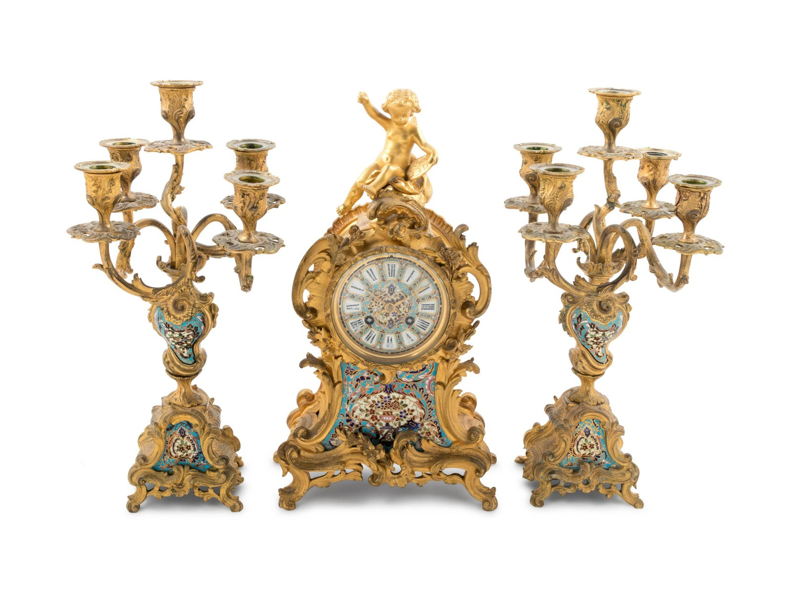 A Louis XV Style Gilt Bronze and Champleve Enamel Clock