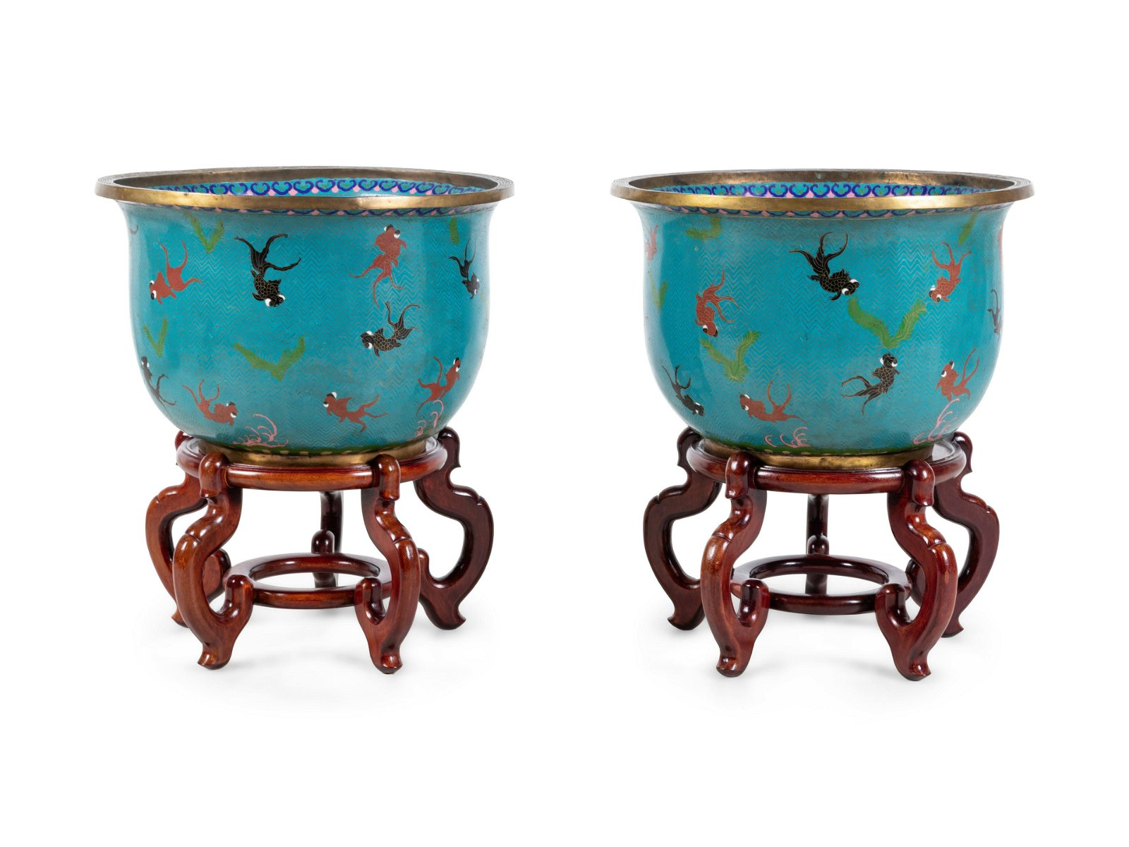 A Pair of Chinese Cloisonne Fish Bowls and Stands