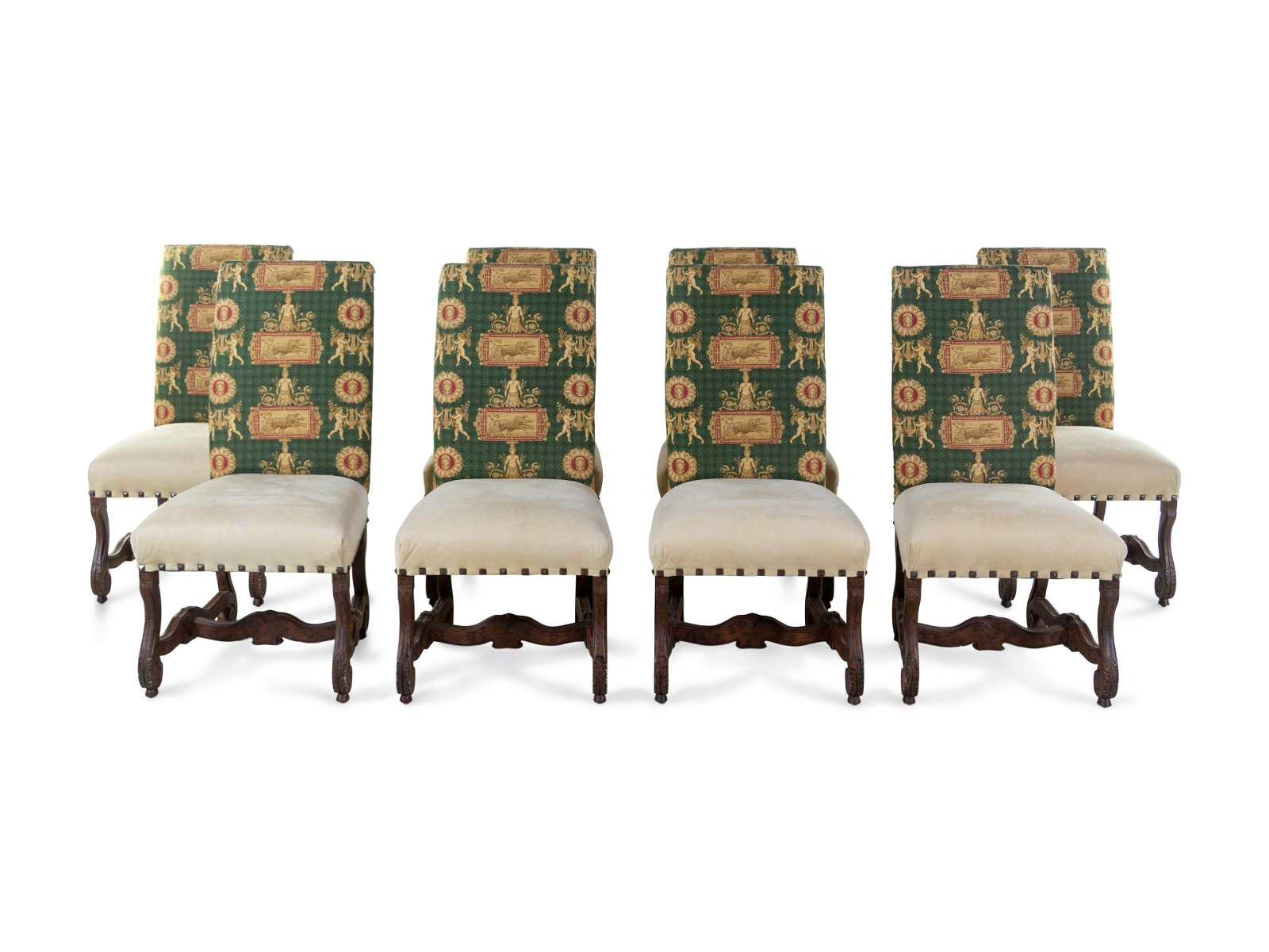 A Set of Eight Louis XIII Style Upholstered Dining