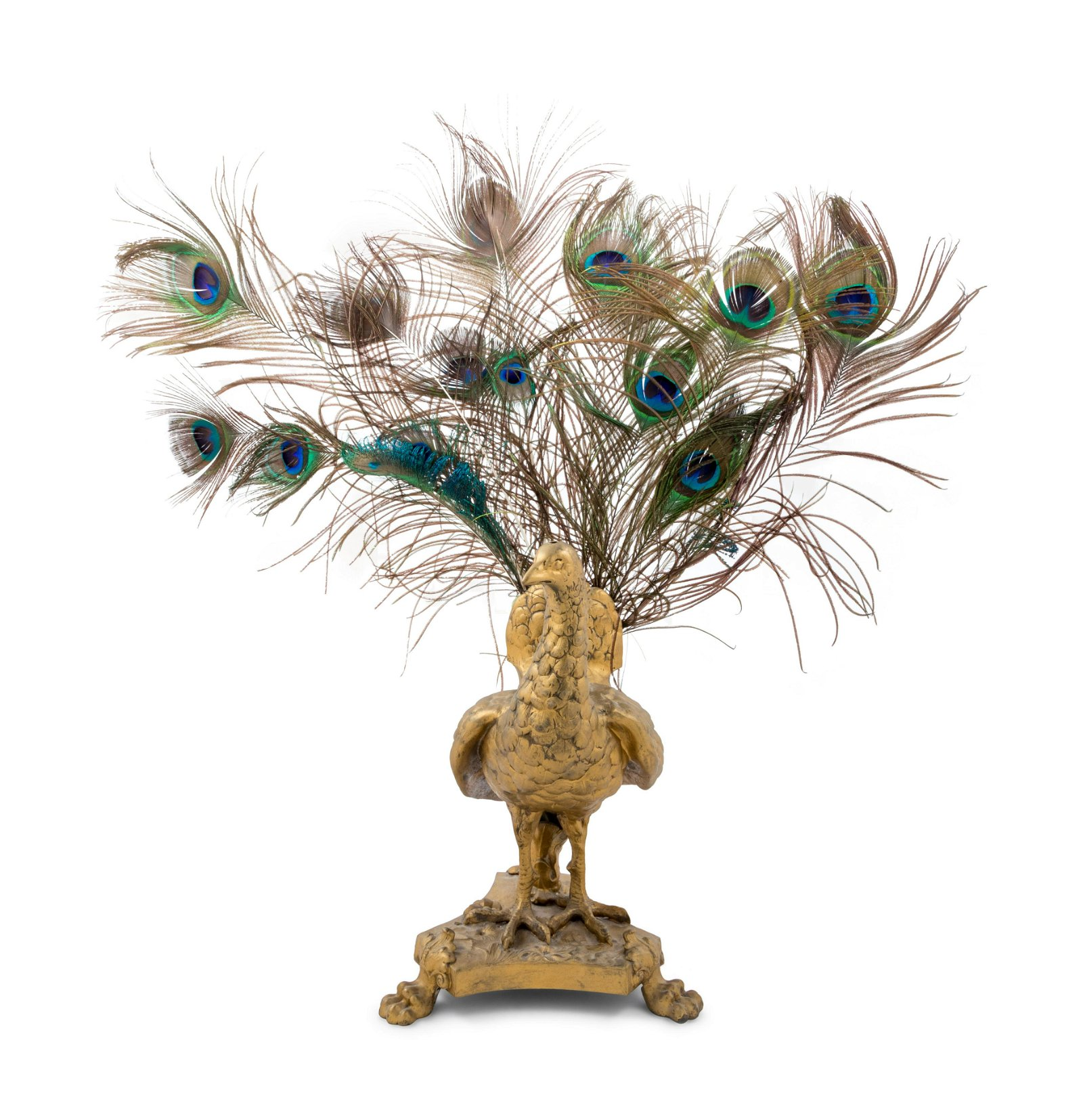 A Neoclassical Gilt Metal and Feathered Peacock Table
