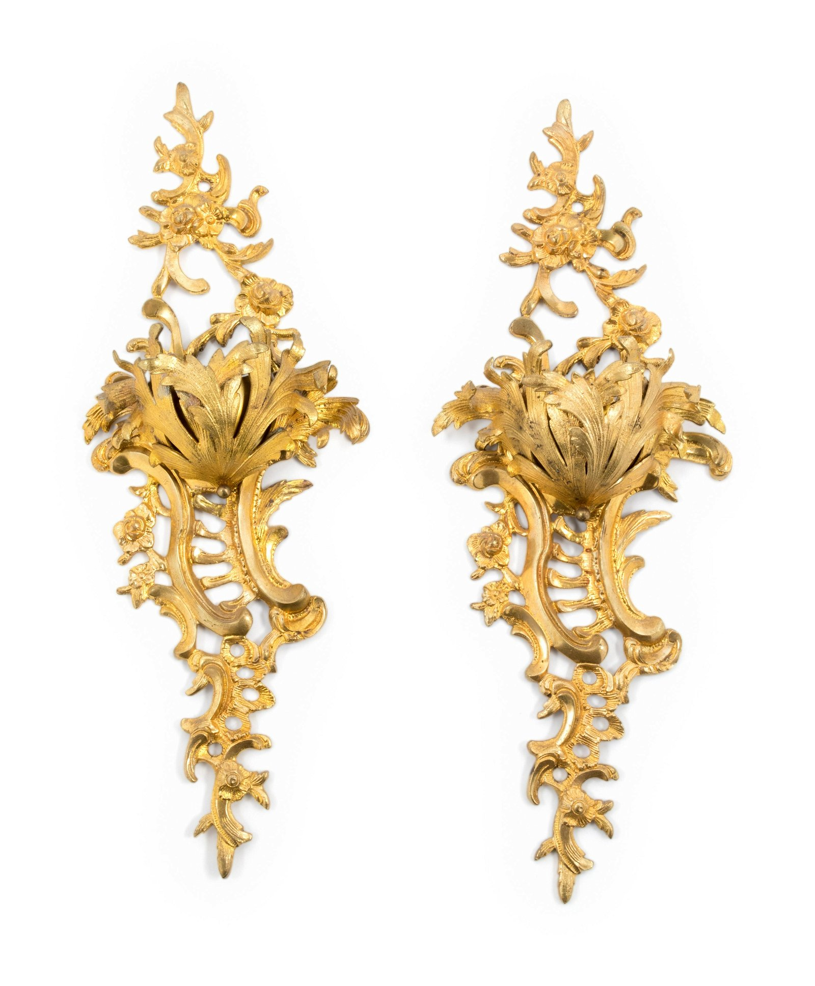 A Pair of Rococo Style Gilt Metal Wall Pockets
