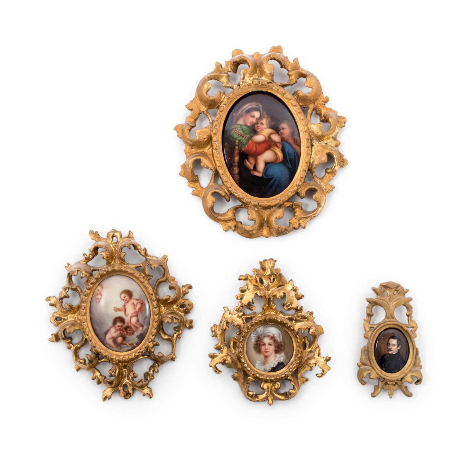 Four Continental Painted Porcelain Plaques