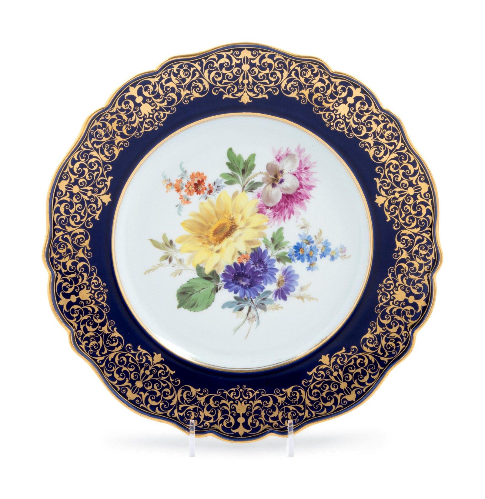 A Meissen Painted and Parcel Gilt Porcelain Plate