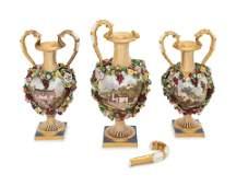 A Bloor Derby Three-Piece Porcelain Garniture Set