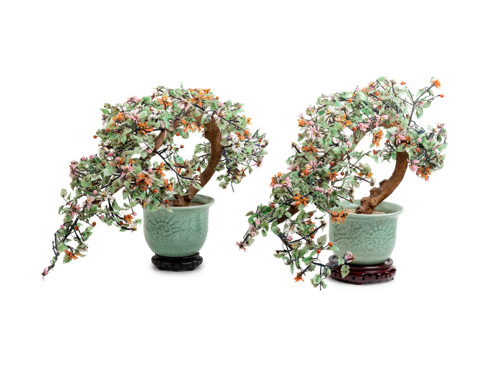 A Pair of Chinese Export Hardstone Models of Flowering