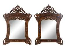 A Pair of Syrian MotherofPearl Inlaid Walnut Mirrors