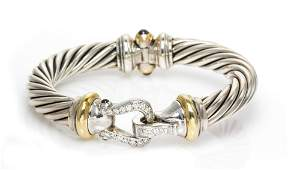 DAVID YURMAN STERLING SILVER YELLOW GOLD DIAMOND AND