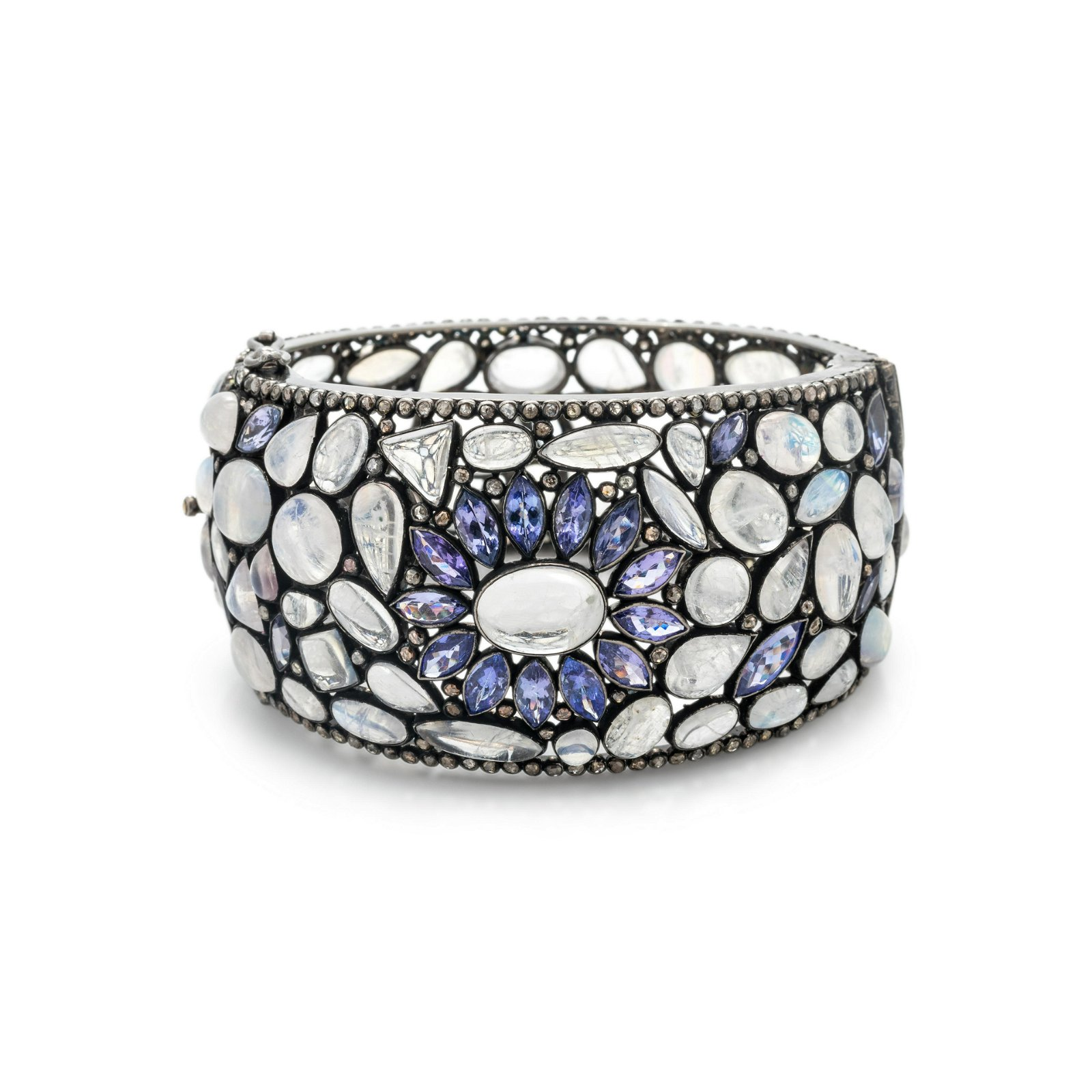 MOONSTONE, IOLITE and DIAMOND BANGLE BRACELET