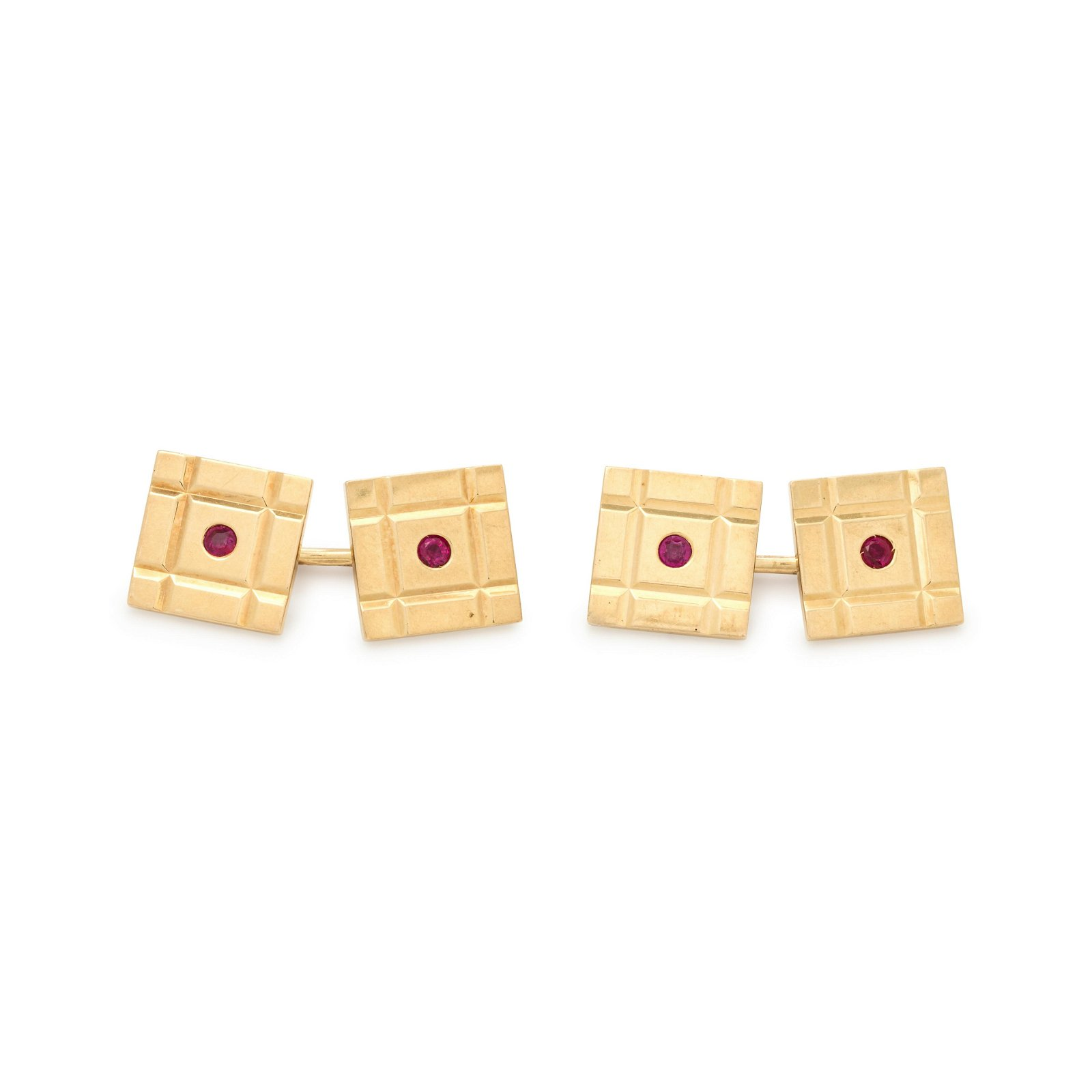 TIFFANY & CO., YELLOW GOLD AND RUBY CUFFLINKS