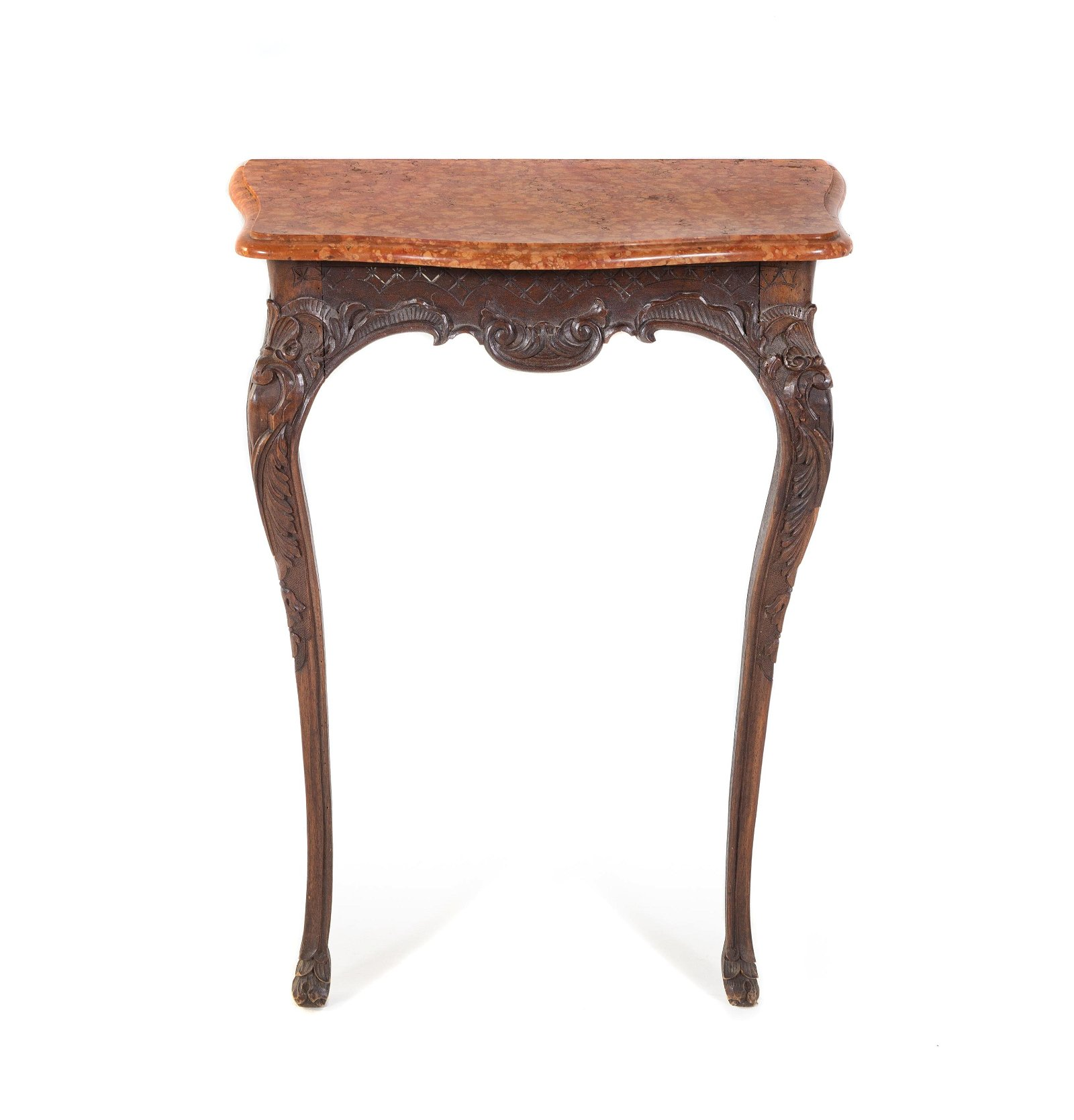 A Louis XV Style Carved Walnut Marble-Top Console Table