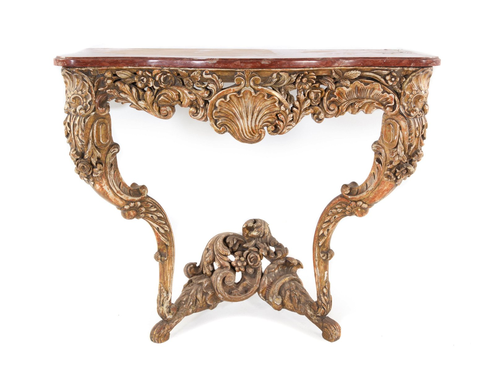 A Louis XV Style Carved and Painted Console Table