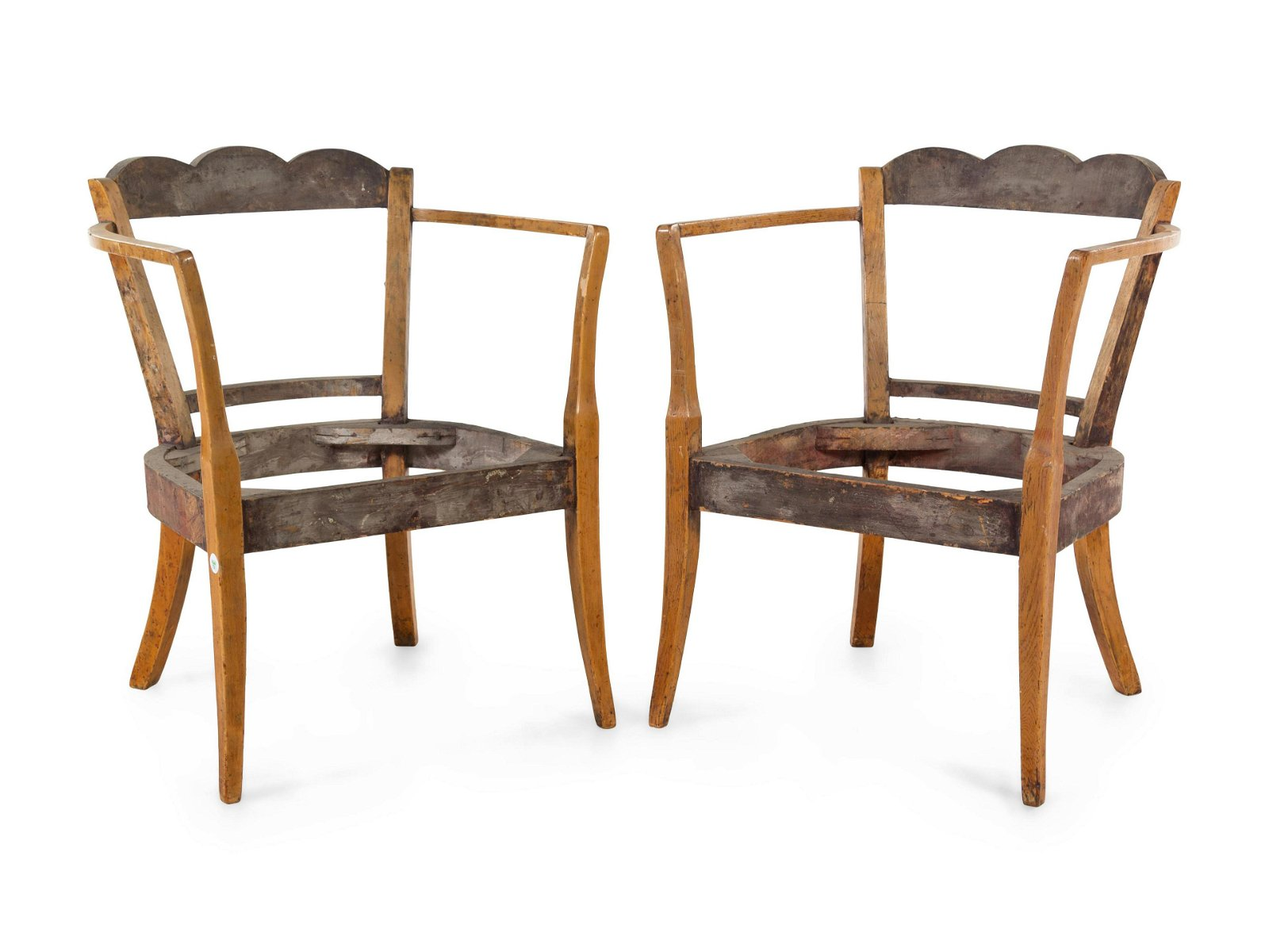 A Pair of Continental Fruitwood Armchair Frames