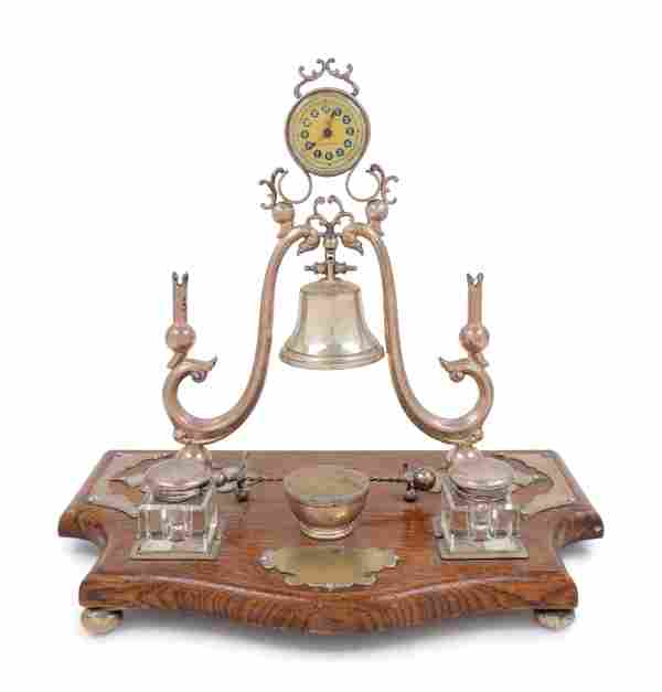An English Silver-Plate and Oak Desk Stand