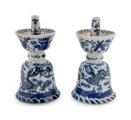 A Pair of Chinese Blue and White Porcelain Candle