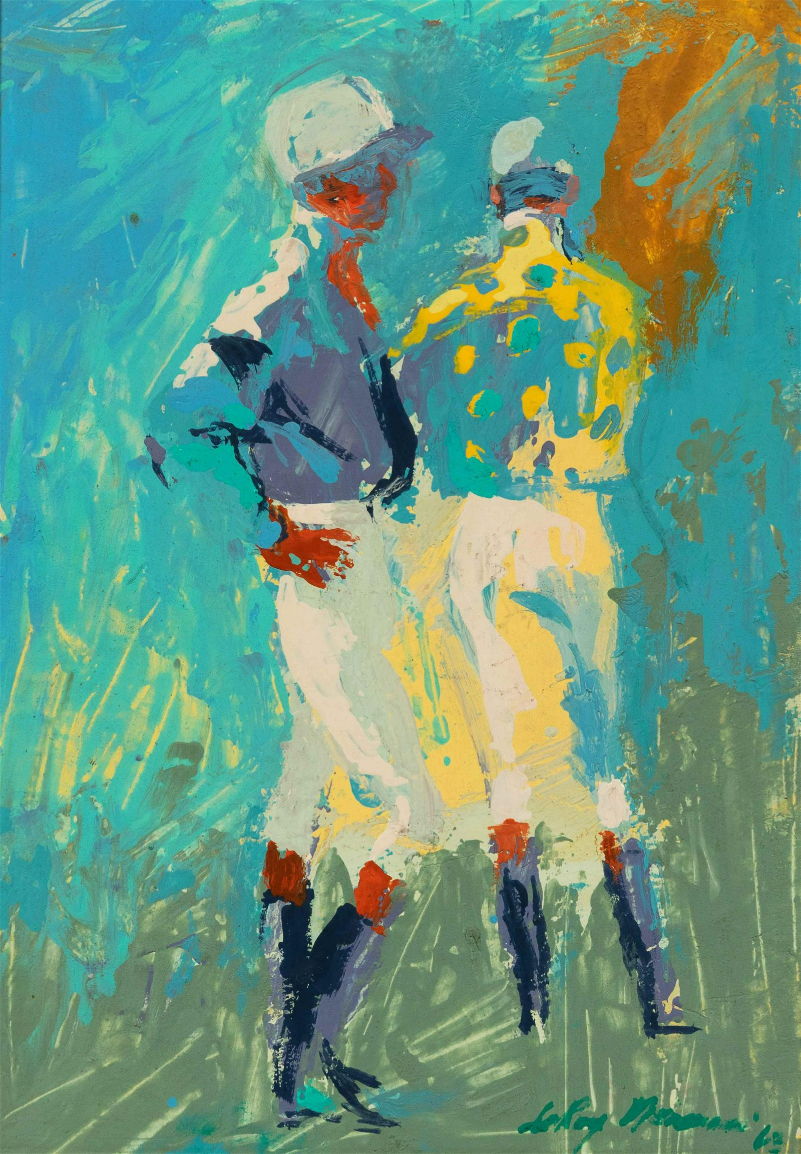 LeRoy Neiman (American, 1921-2012) Two Jockeys, 1963