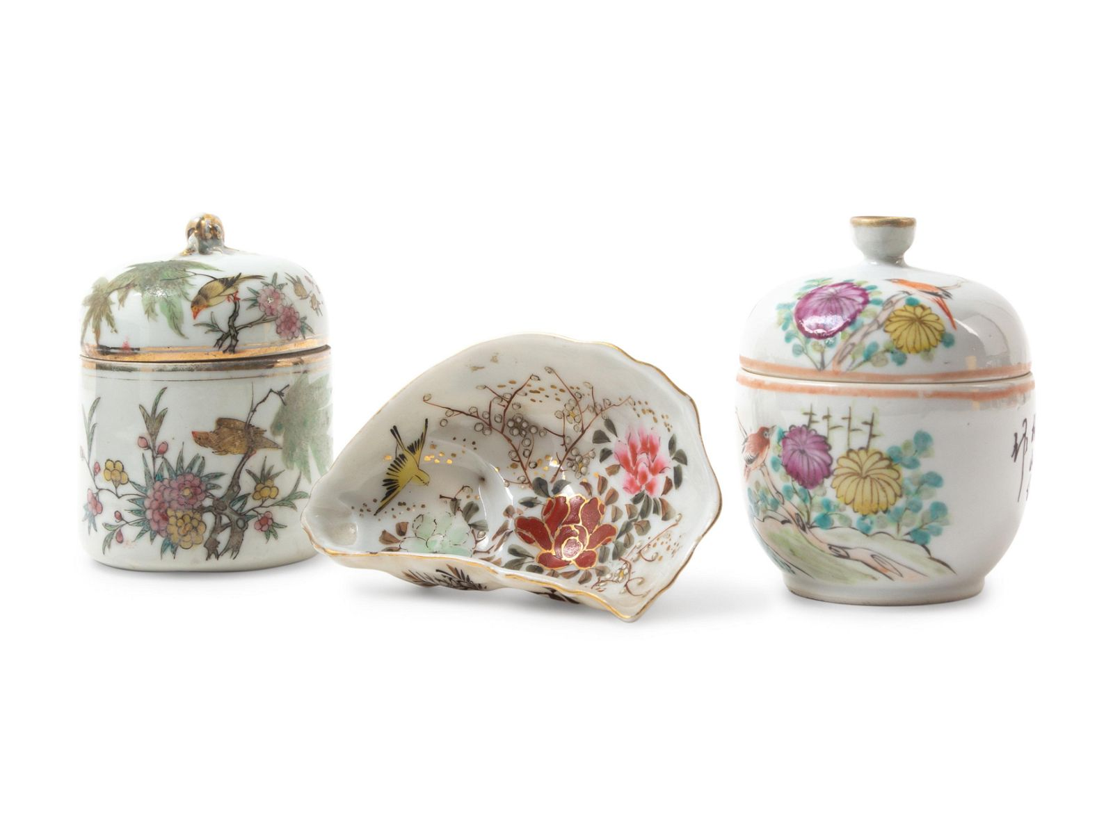 Three Famille Rose Porcelain Articles