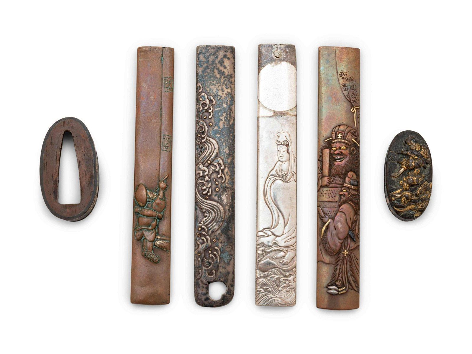 Six Mixed Metal Sword Fittings