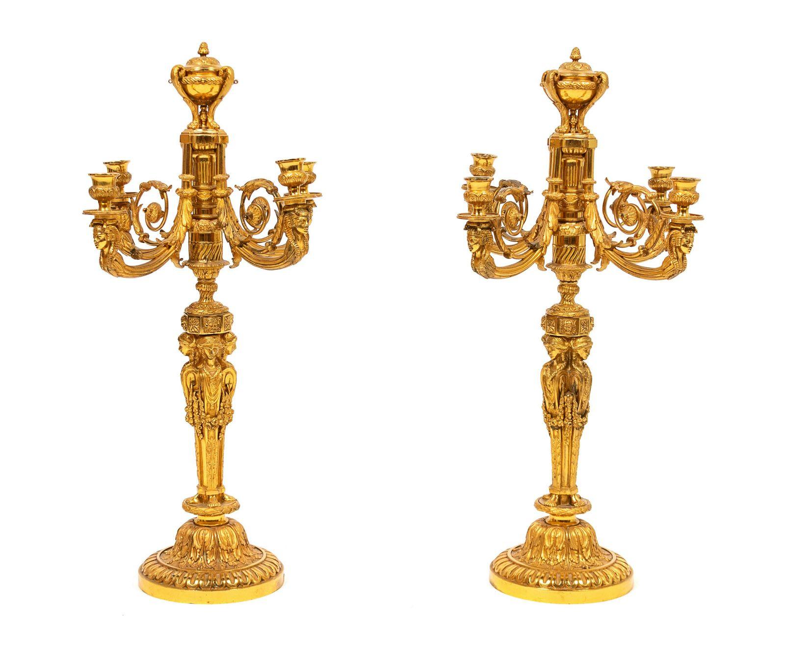 A Pair of Louis XVI Style Gilt-Bronze Four-Light
