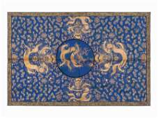 A Chinese Blue Ground Embroidered Silk 'Dragon' Panel