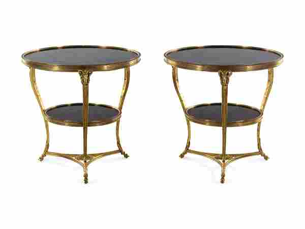 A Pair of Neoclassical Gilt Bronze Marble-Top Gueridons