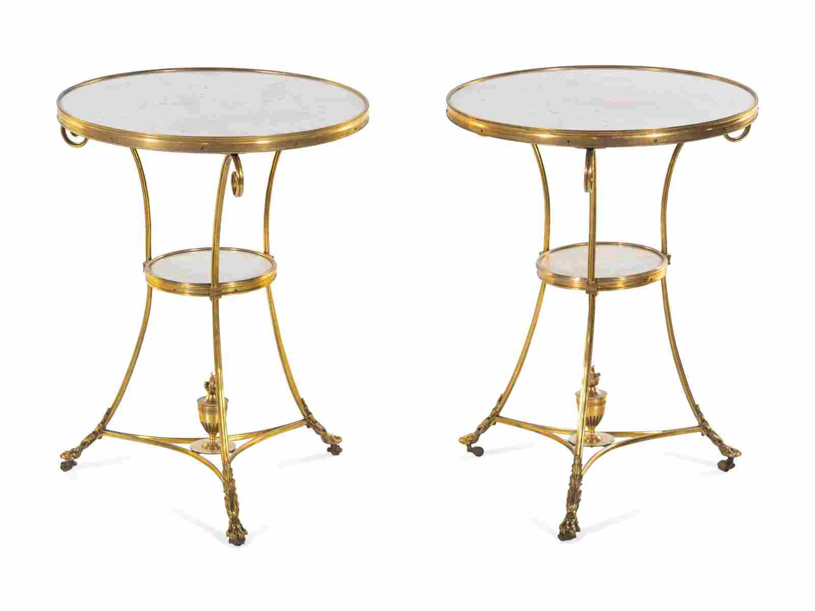 A Pair of Neoclassical Gilt Bronze and Marble-Top