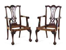 A Pair of George III Style Mahogany Armchairs